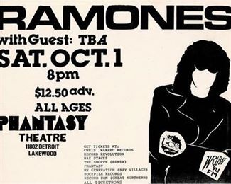 Lot 012 Ramones at The Phantasy 1988 Show Flyer