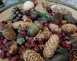 "(Item FR-19)  $40 ~ Large ceramic decorative platter full of autumn floral.  Bowl is cream color on the underside.  17"" diameter.  Heavy weight platter/bowl."