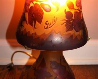 Signed Galle Glass Lamp