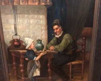 """Oil on canvas signed W. Johnson """"Grandfather's Darling"""""""