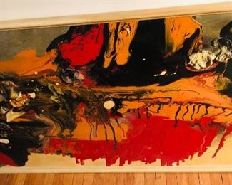 Approximately 6' long oil and mixed media on board possibly signed El Corpas