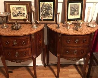 Pair of marble top, inlaid, Demi-lune French cabinets