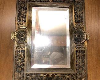 Victorian brass mirror
