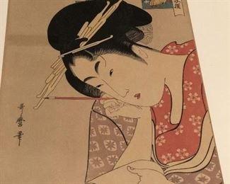 A number of Japanese unframed prints