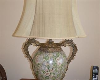 Beautiful Ceramic with Heavy Brass Accent Lamps (2)