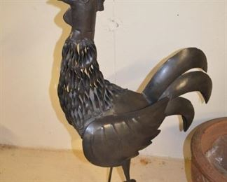 Metal Rooster and Planter