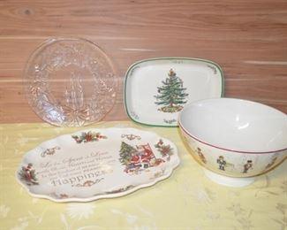 William Sonoma Christmas Bowl and Spode