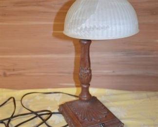 Glass and Metal Base Table Lamp