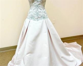 Casablanca Bridal Size 12 Pink Silver and Pearl Designer Wedding Gown