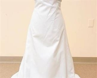 Size 8 White Strapless Bridal Gown