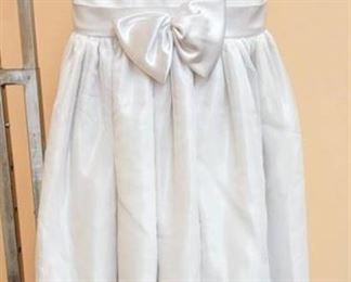 White with Pearl Detail Flower Girl Special Occasion Dress - No Size Tag; appears to be size 7 or 8