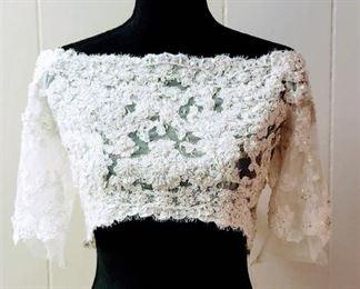 Maggie Sottero Size 10 Designer Ivory Lace Off Shoulder Bridal Jacket Bolero Top
