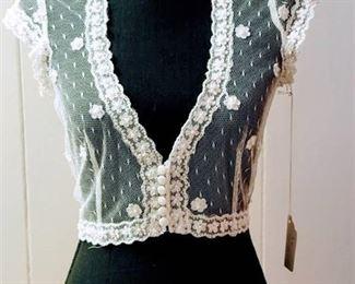 Aire Barcelona Size 12 Ivory Lace Wedding Bridal Jacket Bolero Top