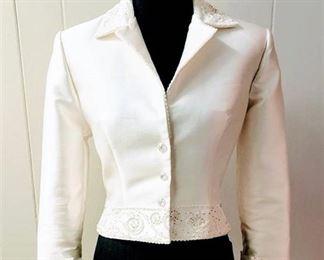 St. Patrick Size 10 White Designer Wedding Bridal Jacket Coat