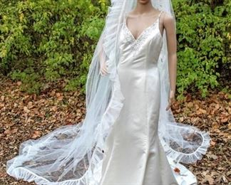 """130"""" Long Cathedral Veil with White Trim and Ruffled Edges"""