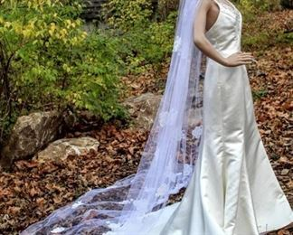 """114"""" Long Cathedral Veil with White Trim and Jeweled Floral Details"""