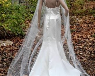 """110"""" Long Plain Ivory Cathedral Veil"""