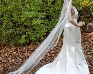 """108"""" Long Cathedral Veil with Faint Silver and Jeweled Floral Details"""
