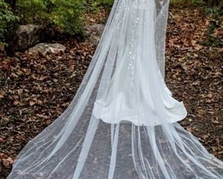 """138"""" Long Cathedral Veil White with Flower and Sequence Design Showering From Head to Midway"""