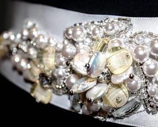 "White Satin Ornate Jeweled Wrap Bridal Belt 92"" Long"