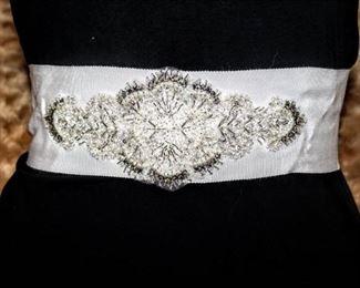 """Gorgeous Thick Ivory Embellished Bridal Belt Sash 72"""" Long"""