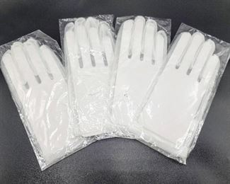4 Pairs of Sheer White Women's Wrist Length Gloves - New in Packages