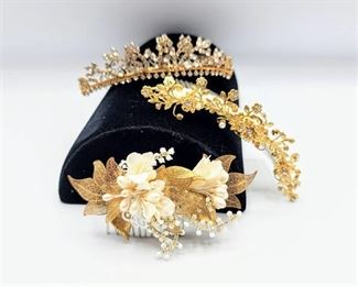 3 Gold, Pearl & Rhinestone Bridal Combs Hairpieces