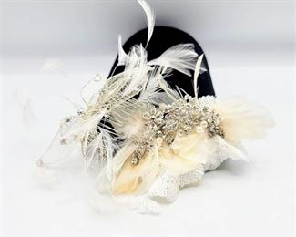 2 White, Silver, Rhinestone and Feathers Bridal Combs Hairpieces