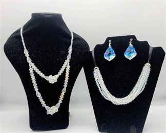 2 Beautiful Iridescent Necklaces and a Pair of Dangle Iridescent Earrings