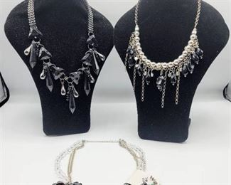 3 Black, Silver and Rhinestone Statement Necklaces - Brands VCLM and Venture