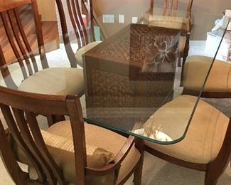 Glass top formal dining room table and chairs