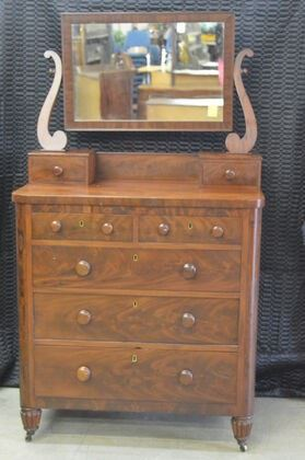 238S Mahogany Empire Chest with Mirror