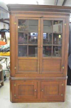 296D 2 pc. Cherry Corner Cabinet