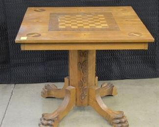 4661 Oak Game Table with Claw Feet