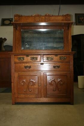 6663 Oak Sideboard with Beveled Mirror