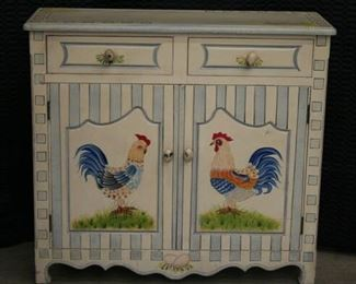 3727 Painted Cabinet with Roosters