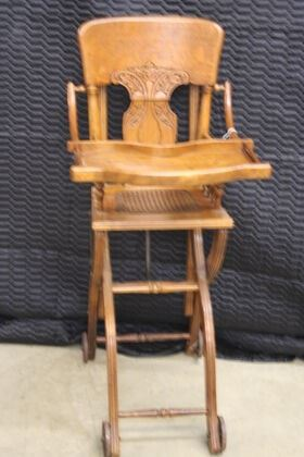 4671 Oak High Chair with Cane Seat