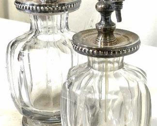Set9 Antique Sterling Silver & Crystal Dresser Set
