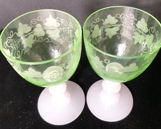 6 Vintage Etched Green Crystal Glasses, Opaque