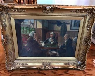 "Original Oil by Alexander Austen, ""A Hand At Crib"""