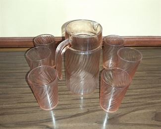 PINK PITCHER & GLASSES SET