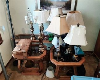LOTS OF ASST. TABLE LAMPS & LR TABLES