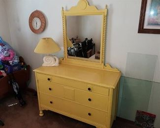 ANTQ. DRESSER, PAINTED YELLOW