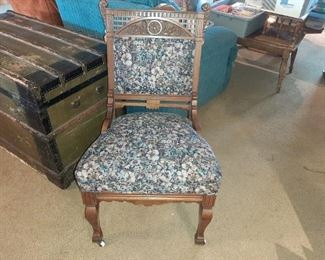 ANTQ. VICTORIAN SIDE CHAIR, REUPHOLSTERED