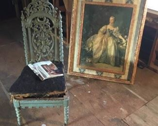 1800s Wood Carved Chair with Framed Print