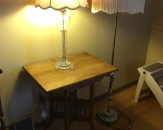 Antique Table and Lamps