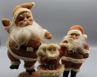 Retro Felt Flocked Santas - set of 3
