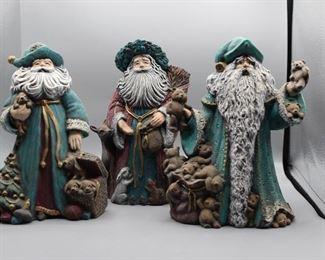 Hand-painted Ceramic Teal Santas - set of 3