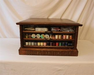 Antique Belding's Knitting Silks Mercantile Display Cabinet with Sewing Accessories