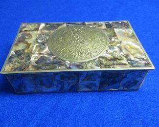 Mexican Abalone Aztec Calendar Box